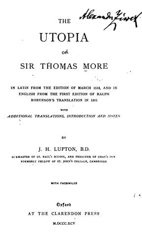 The Utopia of Sir Thomas More by Thomas More