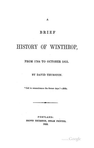 A brief history of Winthrop by David Thurston