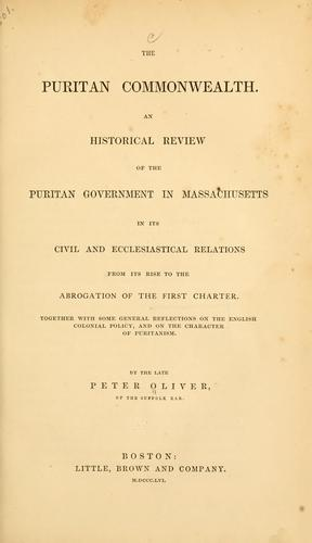 The Puritan commonwealth by Oliver, Peter