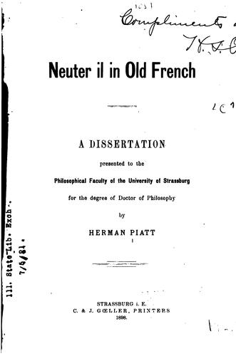 Neuter il in old French by Herman Piatt