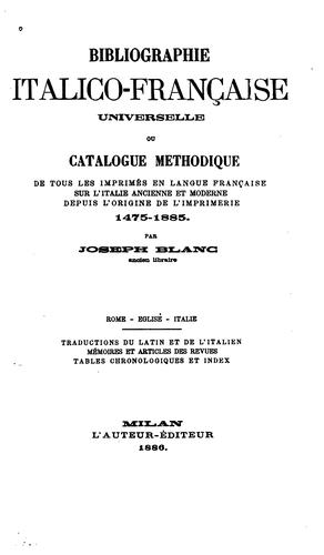 Bibliographie italico-française universelle by Joseph Blanc