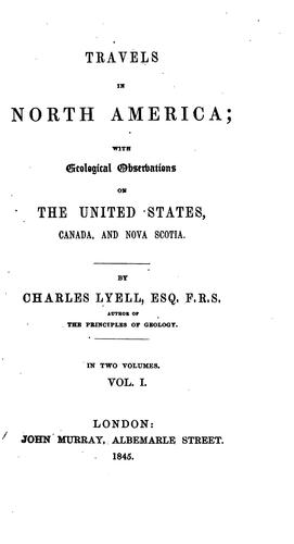 Travels in North America by Charles Lyell