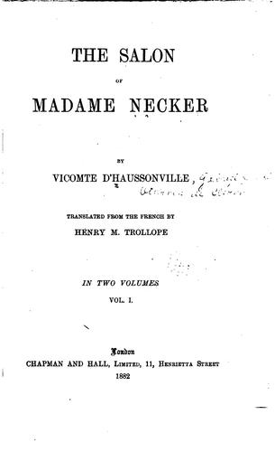 The salon of Madame Necker by Haussonville comte d'