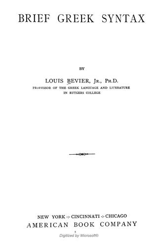Brief Greek Syntax by Louis Bevier