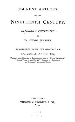 Eminent authors of the nineteenth century. by Georg Morris Cohen Brandes