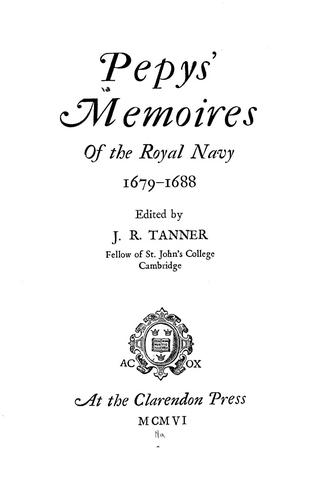 Pepys' Memoires of the Royal Navy, 1679-1688