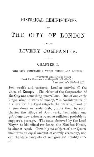 Historical reminiscences of the city of London and its livery companies by Thomas Arundell