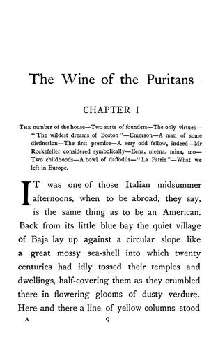 The wine of the Puritans by Van Wyck Brooks