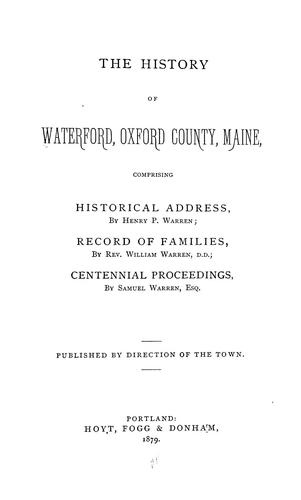 The history of Waterford by Waterford, Maine.