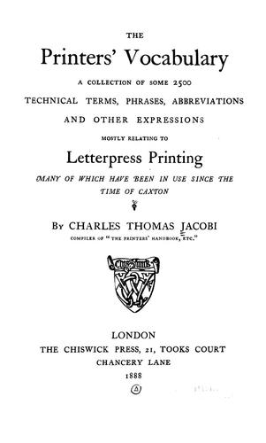 The printers' vocabulary by Charles Thomas Jacobi