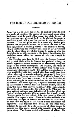 The Rise of the Republic of Venice: The Arnold Prize Essay, 1876 by William George Waters