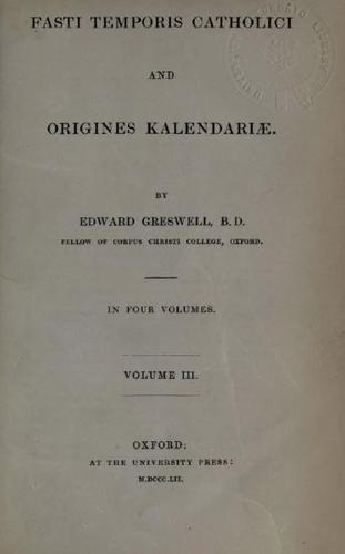 Fasti Temporis Catholici and Origines kalendariae