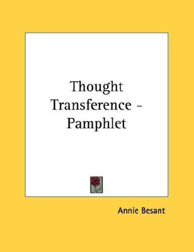 Thought Transference - Pamphlet by Annie Wood Besant