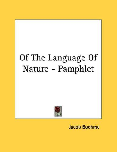 Of The Language Of Nature - Pamphlet by Jacob Boehme
