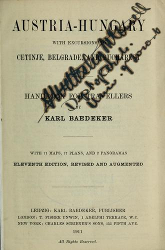 Austria-Hungary by Karl Baedeker (Firm)