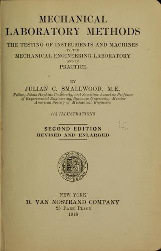 Mechanical laboratory methods by Julian Chase Smallwood