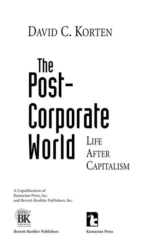 The Post Corporate World by People-Centered Development Forum