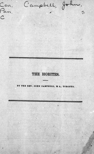 The Horites by Campbell, John